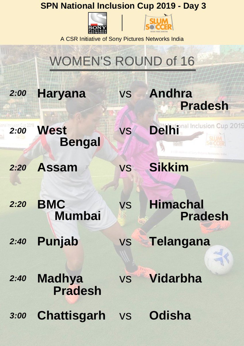 test Twitter Media - The round of sixteen has started! Here is the schedule of women's category. Who do you think will make it to the final of the #SPNNIC2019? @SPNSportsIndia #EkIndiaHappyWala #LetsFootball https://t.co/hzjHFlv0fl