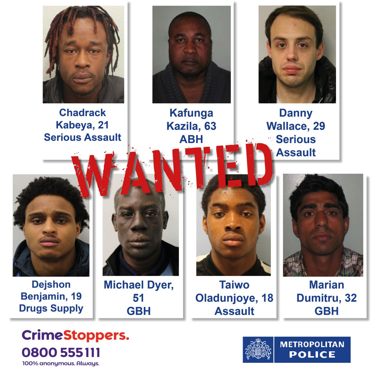 Please SHARE: Help us find these individuals who are #wanted in connection to violent crimes in #London, some of which left victims with serious injuries. Be our eyes and our ears #LoveYourCommunity #FindThemFriday Please📞 @CrimestoppersUK on 0800 555 111 http://news.met.police.uk/news/wanted-help-keep-london-safe-do-you-know-these-people-358470 …