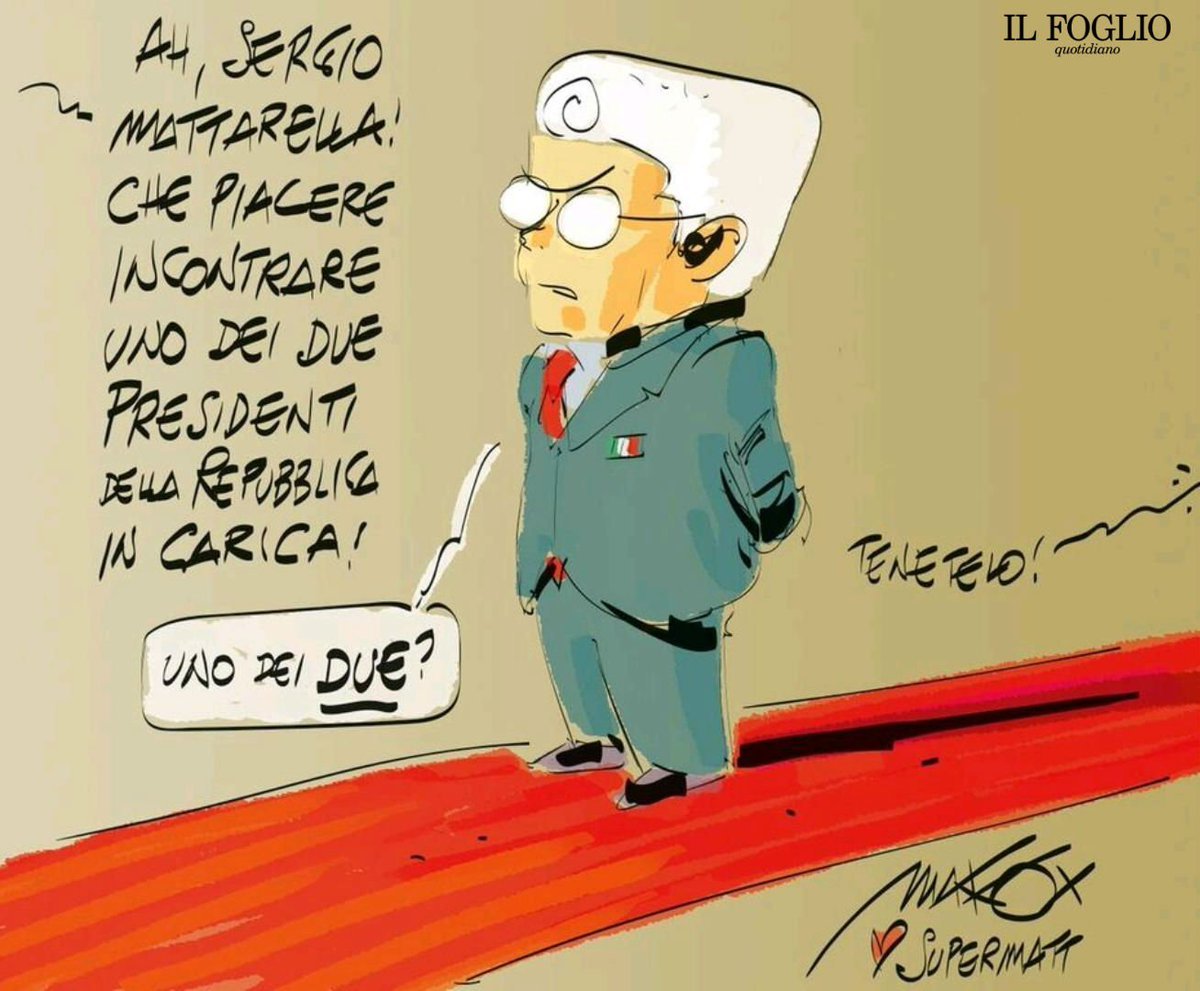 Ecco la vignetta disegnata da @makkox che ieri @claudiocerasa ha portato in dono a Sergio Mattarella. Il capo dello stato ha ricevuto Il Foglio al Quirinale dopo essere stato scelto come uomo dell'anno. Qui abbiamo spiegato perché  https://t.co/1fdQUXsBRT