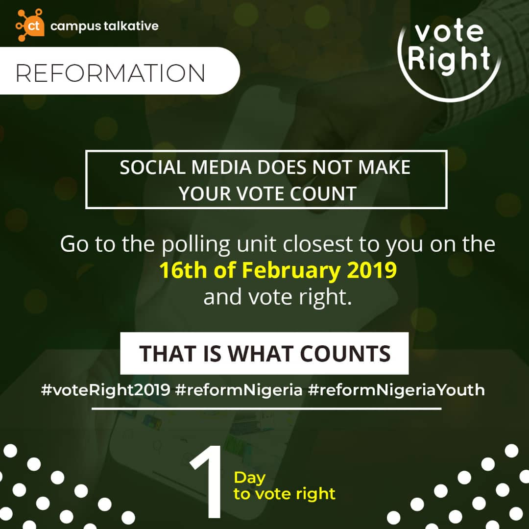 Date is February 16th, Go out and cast your vote. #voteRight2019 #reformnigeria<br>http://pic.twitter.com/P7Uzo1389n