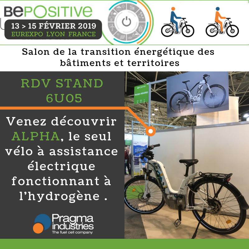 Professionnels, si vous êtes sur la belle @villedelyon dernière journée pour découvrir Alpha le vélo à hydrogène de @PragmaFuelCells . Rdv au @bepositiveevent stand 6U05 à proximité d' @ENGIE_CofelyFR  #H2now #ecomobilite #hydrogen #veloHydrogene #fuelCell  #H2bike #cleantech