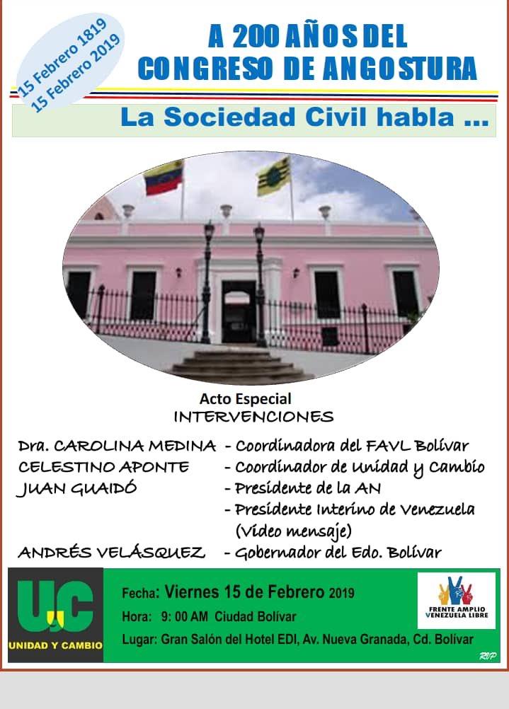 #BicentenarioDeAngostura. A los 200 años del Congreso de Angustura; acompañaré al pueblo de Cd Bolívar en tan Magna fecha.
