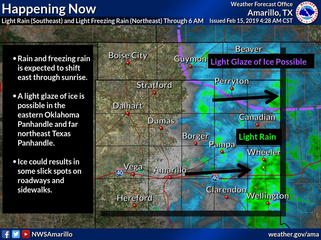 Precip is quickly shifting east and should be done mainly before sunrise. A few slick spots may remain for the AM commute in the far northeast TX Panhandle and eastern OK Panhandle.  #phwx #okwx  #txwx