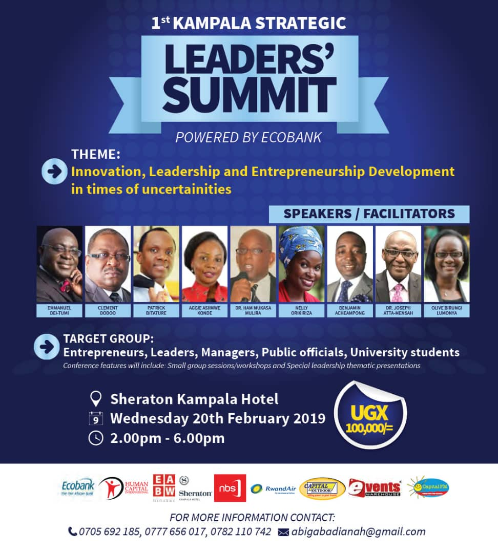 The first Kampala Leaders' Summit is here! The conference slated for 20th February 2019  @SheratonKampala will bring together great minds in the country to discuss Innovation, leadership and Entrepreneurship Development in times of uncertainties.   #NBSUpdates  #LeadersSummitUg19