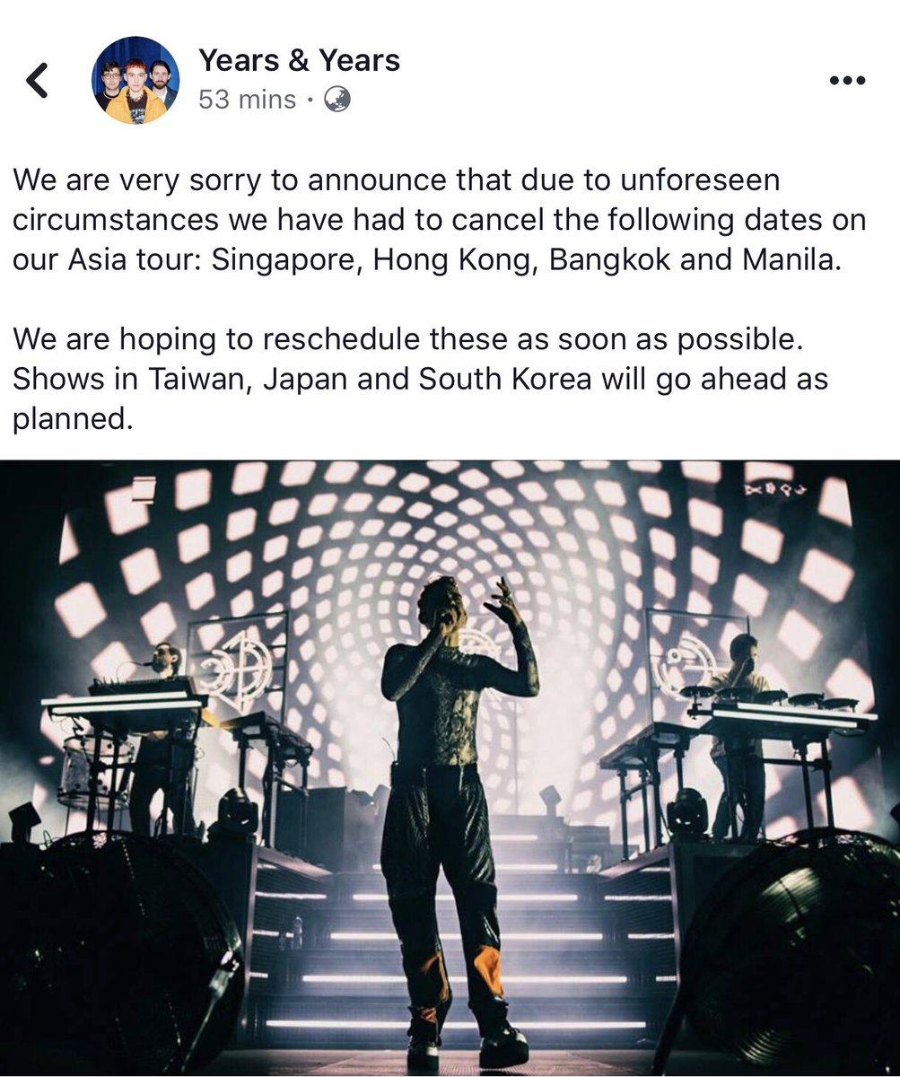 JUST IN: Years and Years posted an announcement in Facebook - cancellation of their Asian concert tour in some countries including Manila. Read below.
