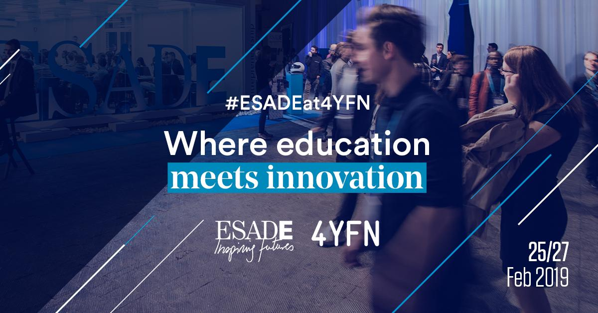 .@4YFN_MWC is just around the corner! Don't miss this 3-day immersive experience in a unique ecosystem built on innovation and entrepreneurship. We will be waiting for you! Find out more info in our event page: https://esade.me/2SAujSa