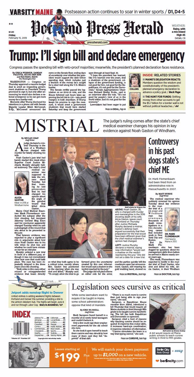 Today's Portland Press Herald front page, Friday, February 15, 2019