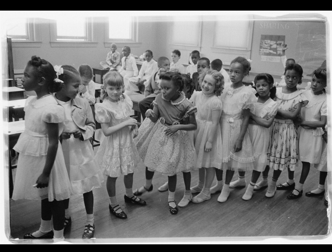 Recognizing &quot;Black History Month&quot; School integration. Barnard School, Washington, D.C. 1955 May 27.  School Desegregation In 1954, the Supreme Court took a momentous step: In Brown v. Board of Education of Topeka, Kans. @dcpublicschools @DCPSElementary @DCPSSocStudies<br>http://pic.twitter.com/2Lk50YXmkQ