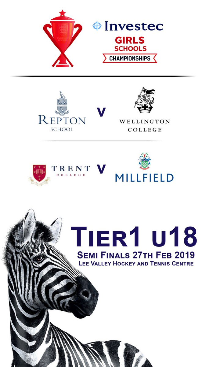The @Investec Girls School  Championships U18 Tier 1. 3pm @Reptonhockey v @WellingtonUK  6pm @TrentSport v  @MillfieldSport 27th Feb at @LeeValleyHTC