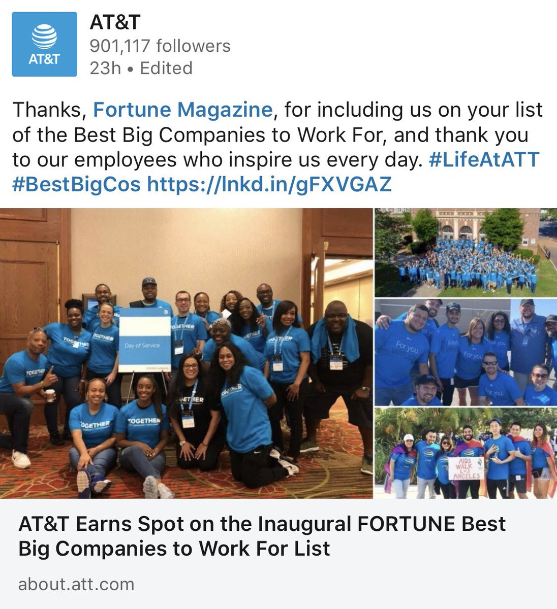 "1. Congrats @att for well-earned spot on @FortuneMagazine ""Best Big Companies to Work For"" list! 2. I couldn't be prouder to be in one of the pics, because I was with the AMAZING Florida team during our time helping the Panama City area after Hurricane Michael! #lifeatatt #OneFLA<br>http://pic.twitter.com/tu41GPjWjg"