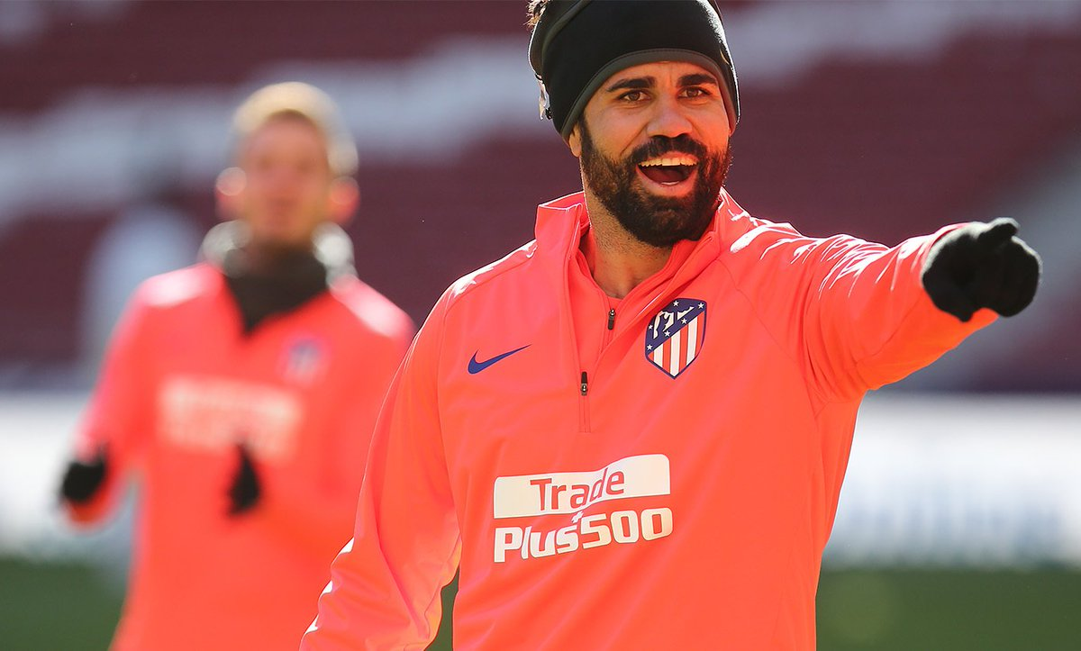 Diego Costa, en un entrenamiento del Atleti.