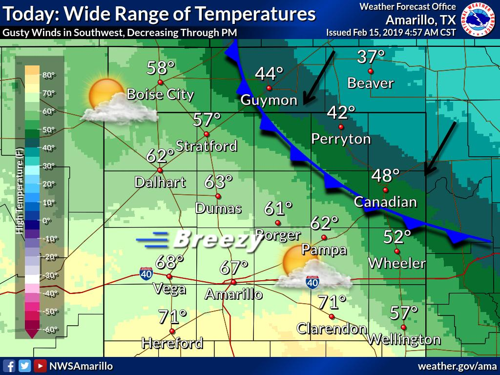 Highs today will range from the upper 30s in the eastern OK Panhandle and the northeast TX Panhandle to the lower 70s in the far southwest TX Panhandle. Gusty winds are expected in the southwestern Texas Panhandle during the late AM and early PM. #phwx #okwx  #txwx