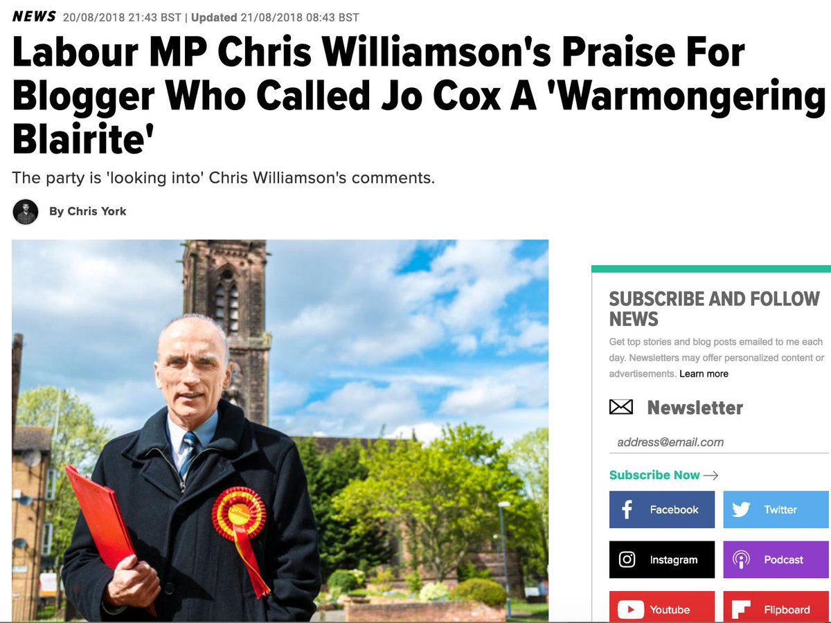 """Iggy Ostanin on Twitter: """"I've spotted Labour MP Chris Williamson, previously criticised for praising anti-Semitic Assad propagandist Vanessa Beeley, who called Jo Cox a """"warmongering Blairite"""" after her murder just liked a"""
