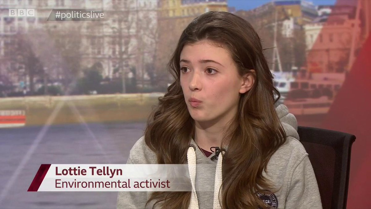 """""""If we don't strike now, then we are getting educated for a future that we don't know is going to exist in the way it does now"""" activist Lottie Tellyn on the #SchoolStrike4Climate protests where pupils have left school to take part in rallies #politicslive https://bbc.in/2EcQzIU"""