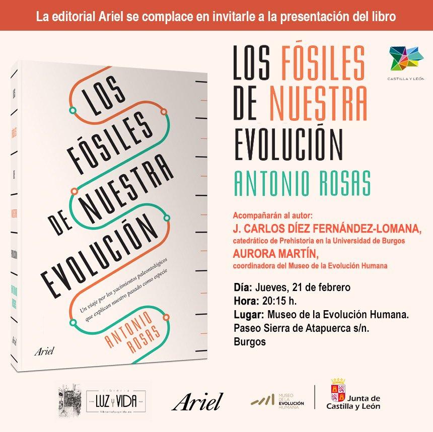 El próximo jueves, 21 de febrero, el paleontólogo Antonio Rosas nos hablará de su libro 'Los fósiles de nuestra evolución' que explica cómo el hallazgo de restos fósiles puede llegar a cambiar nuestra forma de entender el mundo. En colaboración con @EditorialAriel y @LibreriaMEH