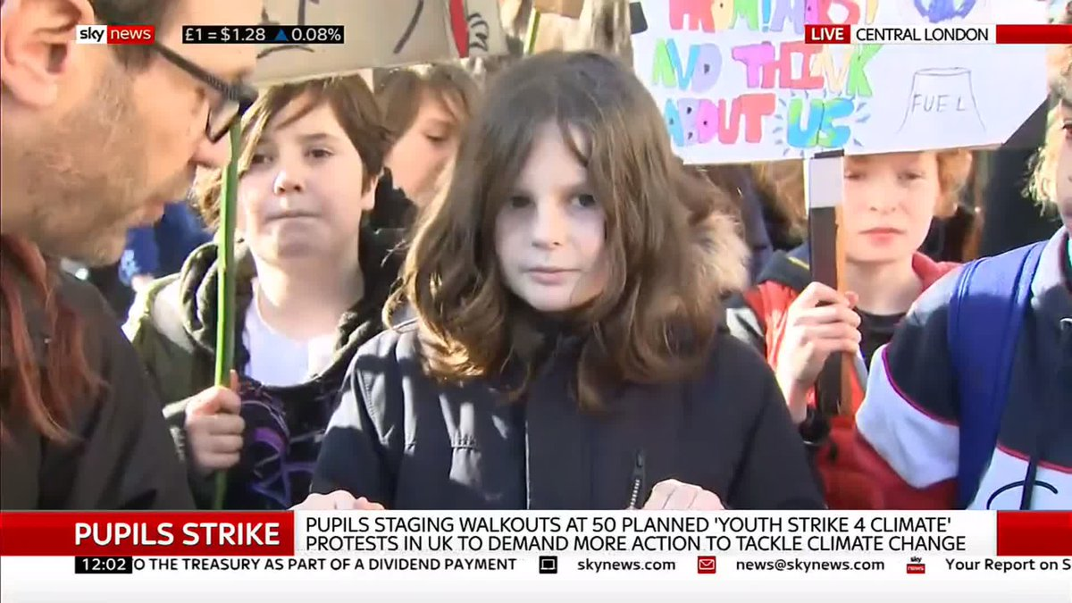 'It's scary to think that when I'm older there might not be a North Pole or maybe a rainforest.'  Students protesting in London say politicians are not taking enough action on climate change.  Latest on #SchoolStrike4Climate here: http://po.st/ssVY6P