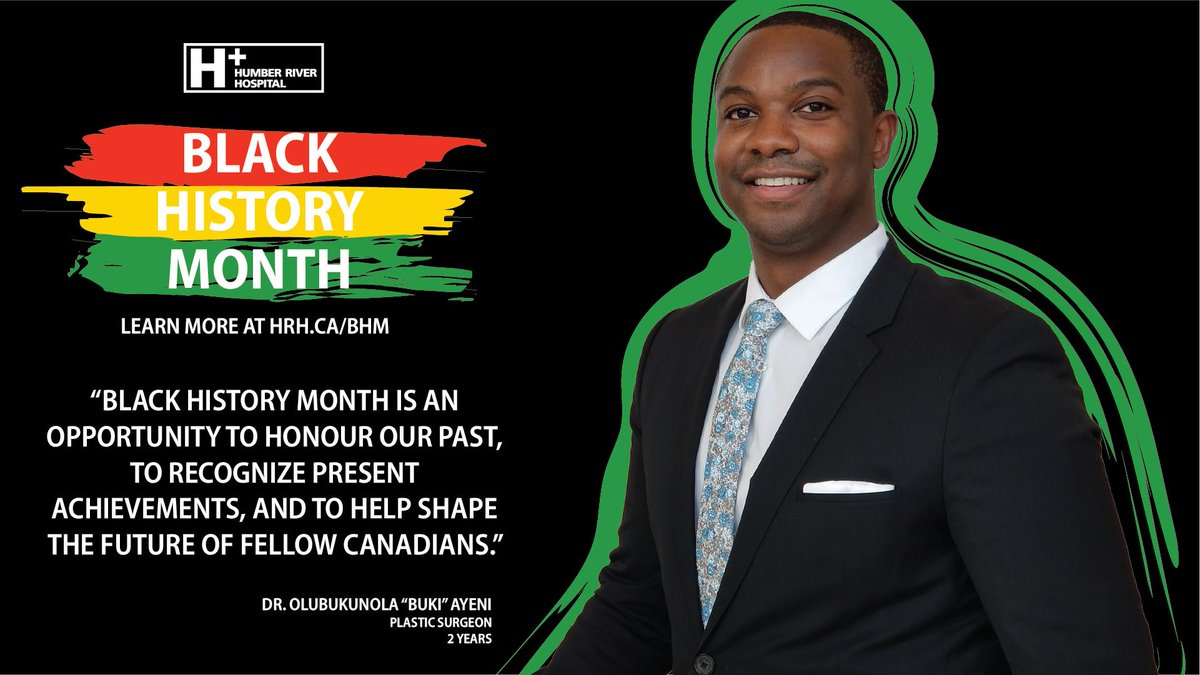 """Black History Month is an opportunity to honour our past, to recognize present acievements and to help shape the future of fellow Canadians."" - Olubukunola Ayeni  Plastic #Surgeon  Learn more about #BHM at #HRH: http://ow.ly/yV0F50lldJX   #BlackHistoryMonth #DreamsBroughtToLife"