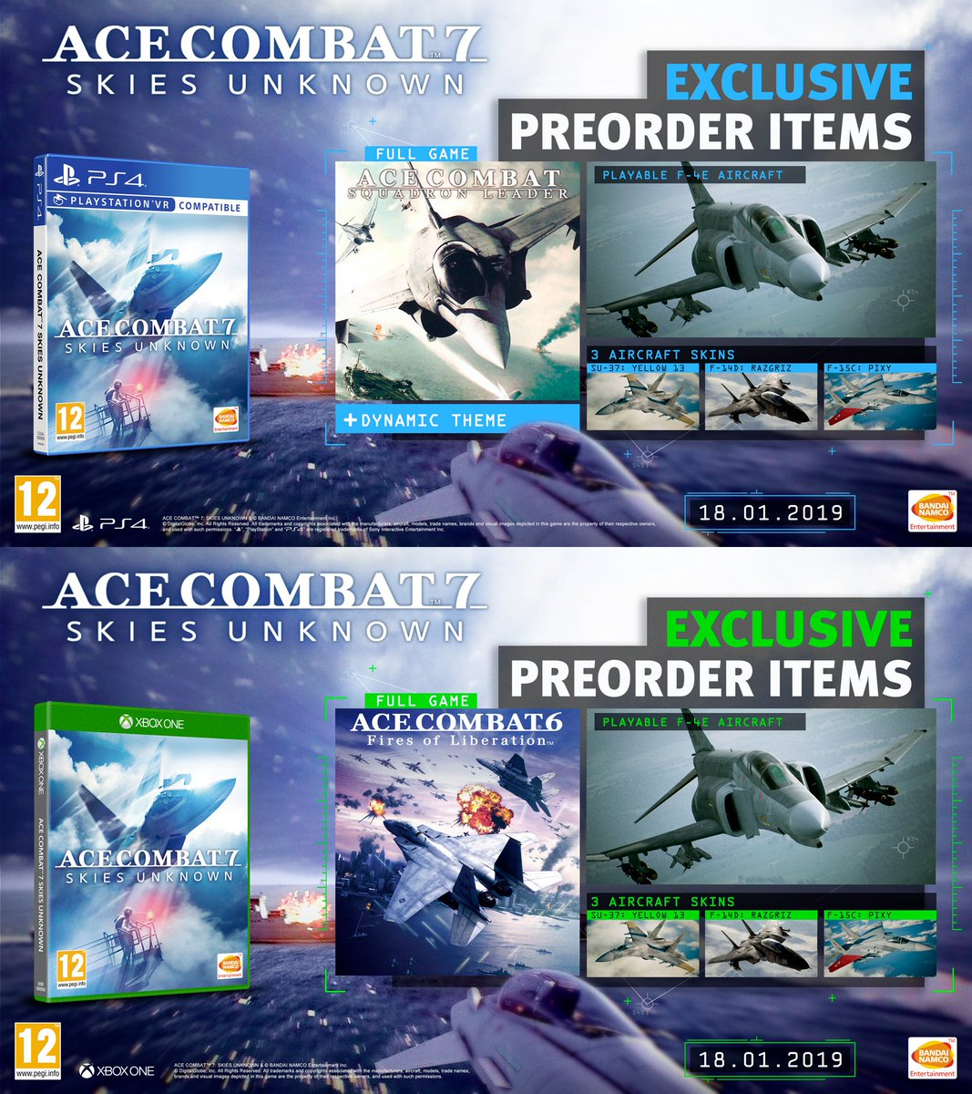 Attention Aces! 📣 This week-end is your last chance to receive exclusive pre-order items with ACE COMBAT 7: SKIES UNKNOWN digital orders on PS4 and XB1. #ACECOMBAT