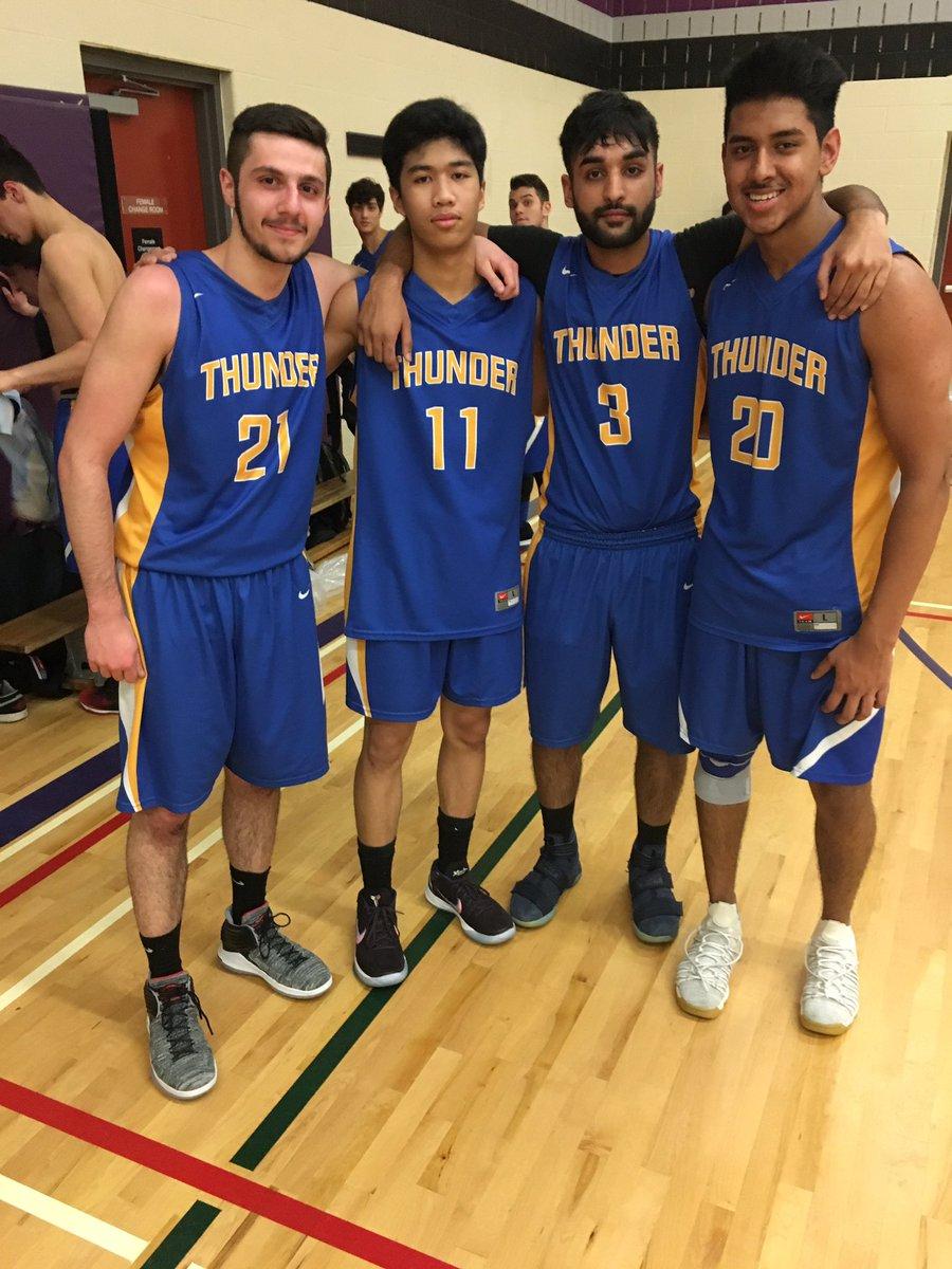 Congrats to our graduating grade 12 Senior Boys Basketball players: GianMarco, John, Akash & Kyle! Thanks for being a part of #ThunderBasketball🏀