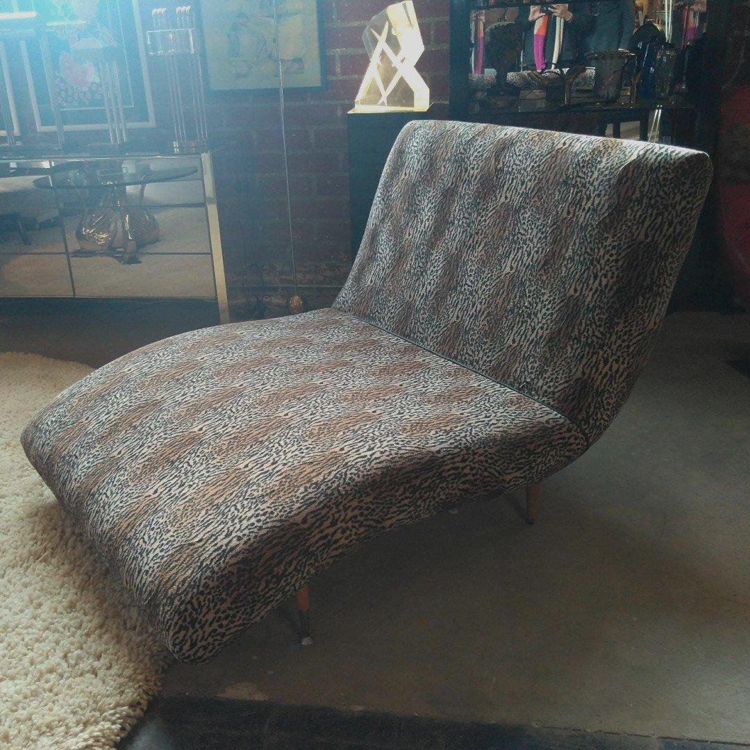 An ode to wildlife in the form of a wave lounge chaise in eye-catching leopard print   Galerie Sommerlath   4321 W. Jefferson Blvd., Los Angeles #VintageFurniture #furniture #midcentury #midcenturymodern #interiordesign #blog #setdesign #filmset #losangeles #animalprint