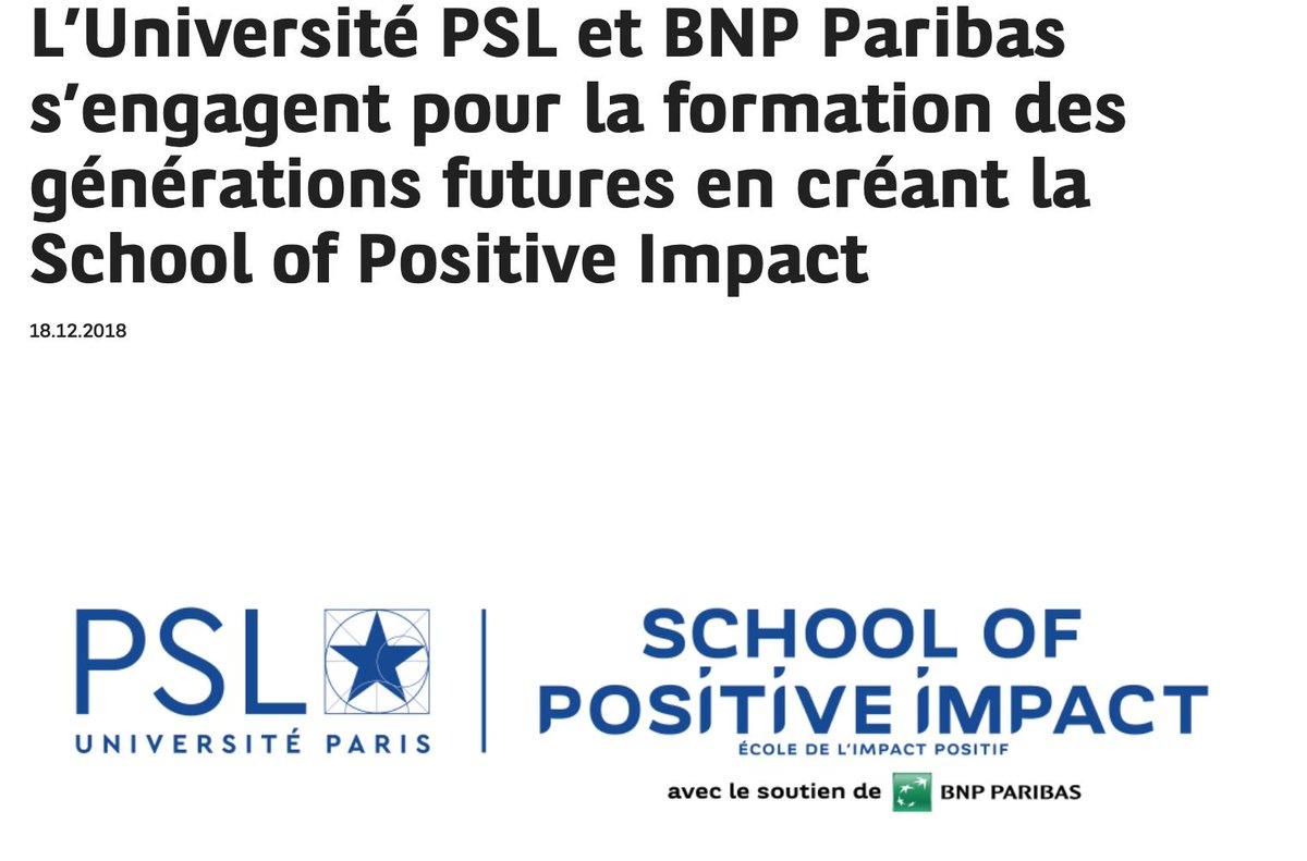 La tutelle de notre plus prestigieuse institution universitaire, l'Ecole normale supérieure (!), se vend à la BNP pour créer une licence privée en 'impact positif'.   Pourquoi ? Parce que l'Etat lui coupe les moyens.  La pourriture de ce système n'a pas de fond.