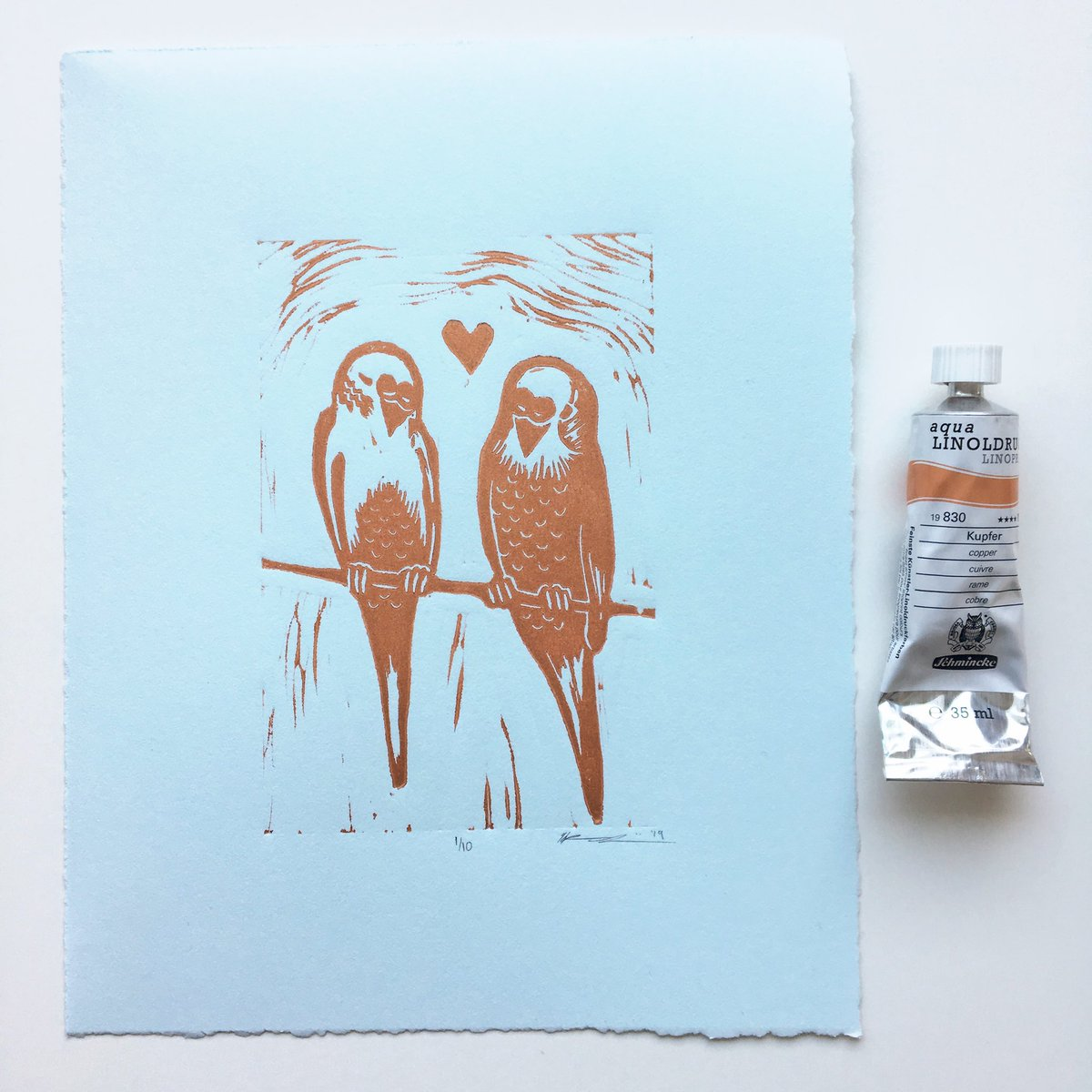 This is how the copper budgies on light blue paper turned out. I'm loving this color combo 😍