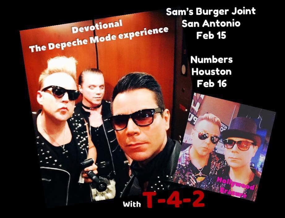 Tonight @SamsBurgerJoint Music Hall!  Freddie Morales and Hayden Frost will delight with their sexy tribute bands Devotional and Hollywood Erasure with Special guest T-4-2!!! Meet and greet at 7pm! #DepecheModeTribute #DM101 #Erasure #TheDMExperience #LoveToHateYou