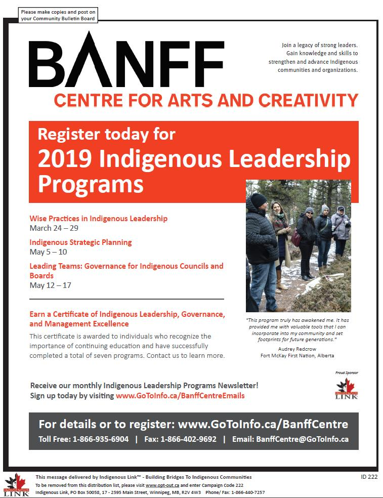Register NOW for the 2019 #Indigenous Leadership Programs. More info here: http://ow.ly/dkVr30nF0wA  #FNMI #BanffLeadership