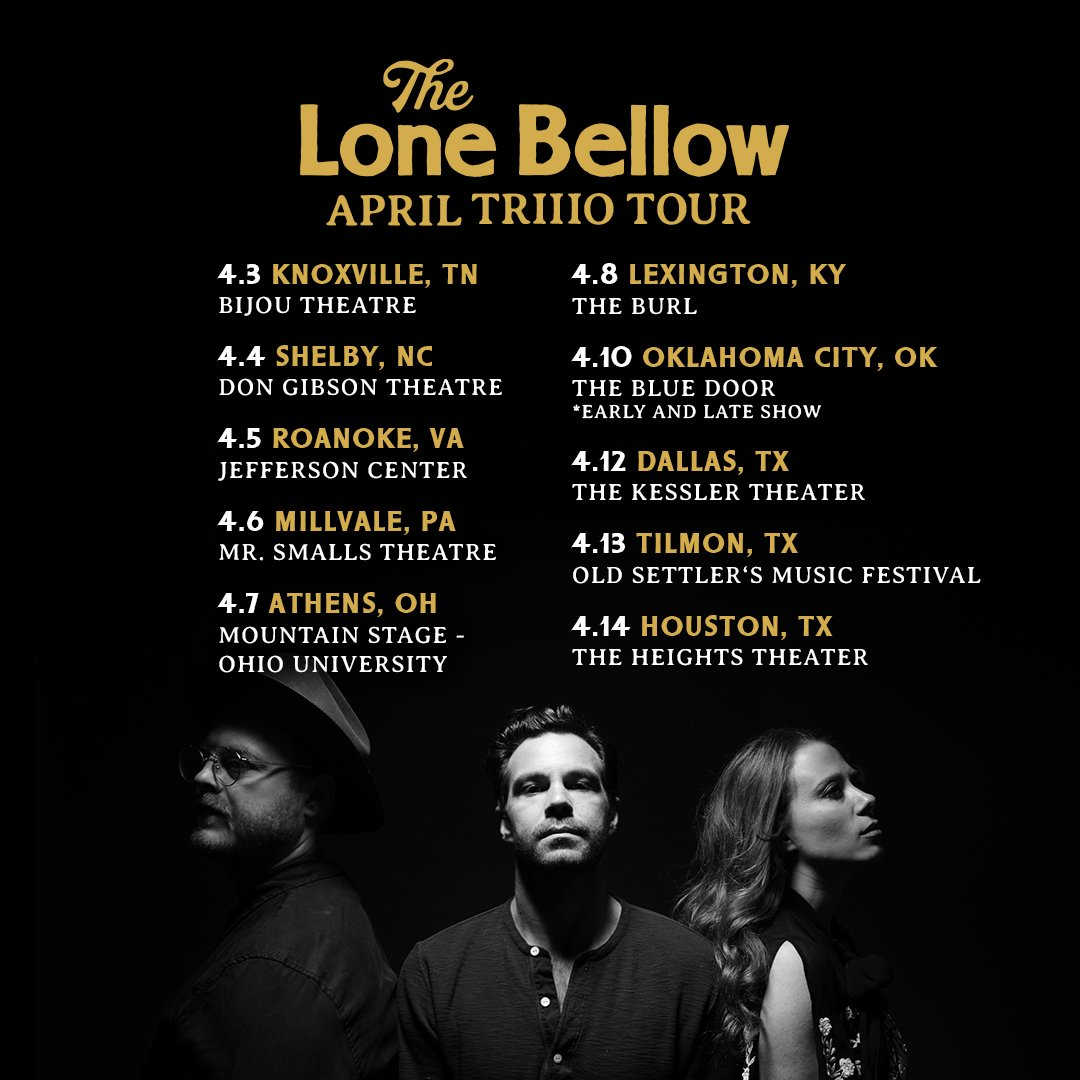 We've got a handful of TRIIIO shows coming up in April that are on sale now! https://www.thelonebellow.com/tour