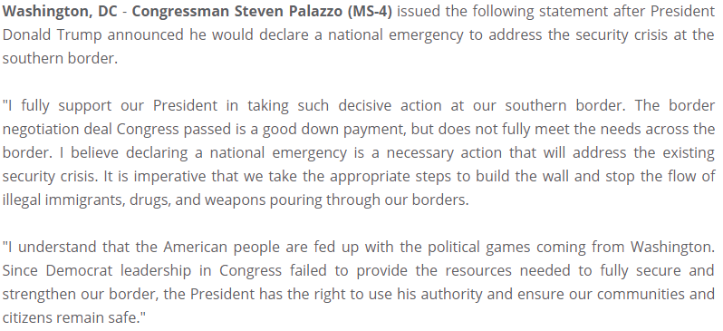 My full statement on @realDonaldTrump announcement to declare a National Emergency.