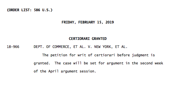 Unusual move by SCOTUS: The justices say they'll decide whether the Trump administration can include a citizenship question in the 2020 census. https://www.supremecourt.gov/orders/courtorders/021519zr_n6io.pdf …