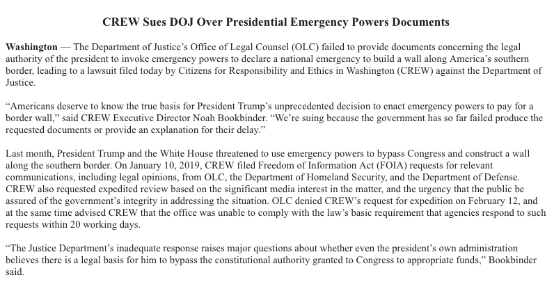 Citizens for Responsibility and Ethics in Washington (CREW) is suing President Trump over his national emergency declaration.