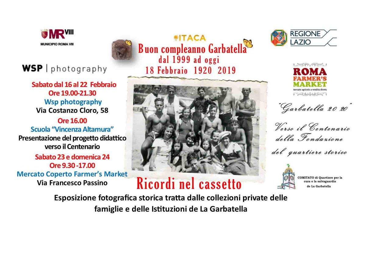 """Il 18 Febbraio 2019 ricade il 99° compleanno della #Garbatella, fondata nel 1920. Sabato 16/02 ore 19 inaugura """"I ricordi nel cassetto"""", esposizione fotografica 📷 tratta dalle collezioni private delle famiglie e delle istituzioni de #LaGarbatella presso #wspphotography #roma"""