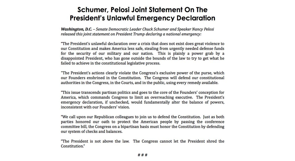 The President's unlawful declaration over a crisis that does not exist does great violence to our Constitution and makes America less safe, stealing from urgently needed defense funds for the security of our military and our nation.   My statement with @NancyPelosi: