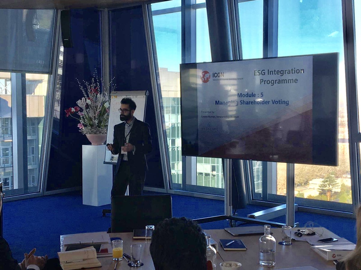 Our own Sawan Kumar here, delivering the Managing Shareholder Voting Module at the International Corporate Governance Network ESG training programme in Amsterdam today.