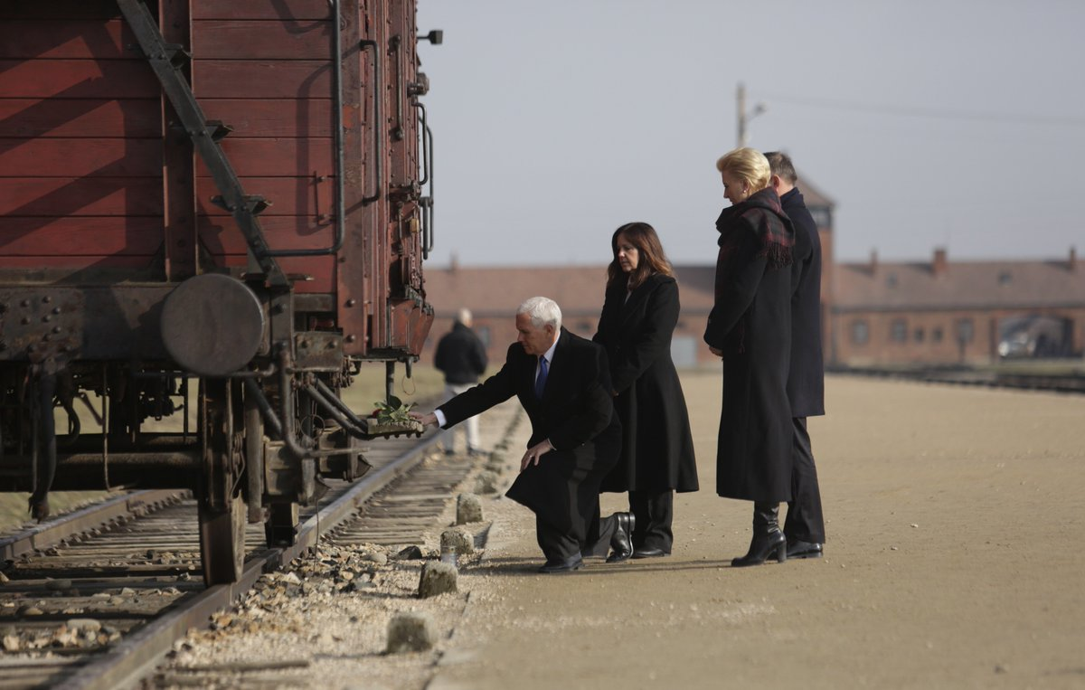 In the second part of their visit at @AuschwitzMuseum the President of Poland @AndrzejDuda and the Vice President of the USA @VP Mike Pence visited the site of the Auschwitz II-Birkenau camp.