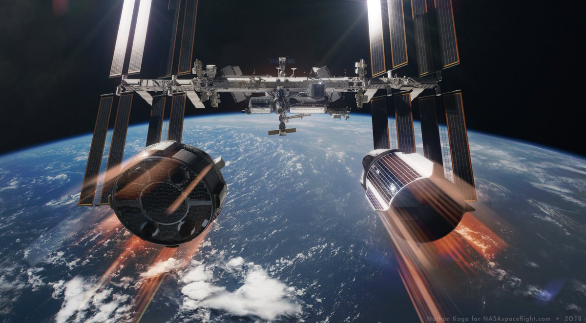 ARTICLE: NASA set to purchase more Soyuz seats to ensure uninterrupted access to the ISS -   https://www. nasaspaceflight.com/2019/02/nasa-s oyuz-seats-uninterrupted-access-iss/ &nbsp; …   - Includes renders by the super talented Nathan Koga for NSF/L2<br>http://pic.twitter.com/AwWUyaEYV8