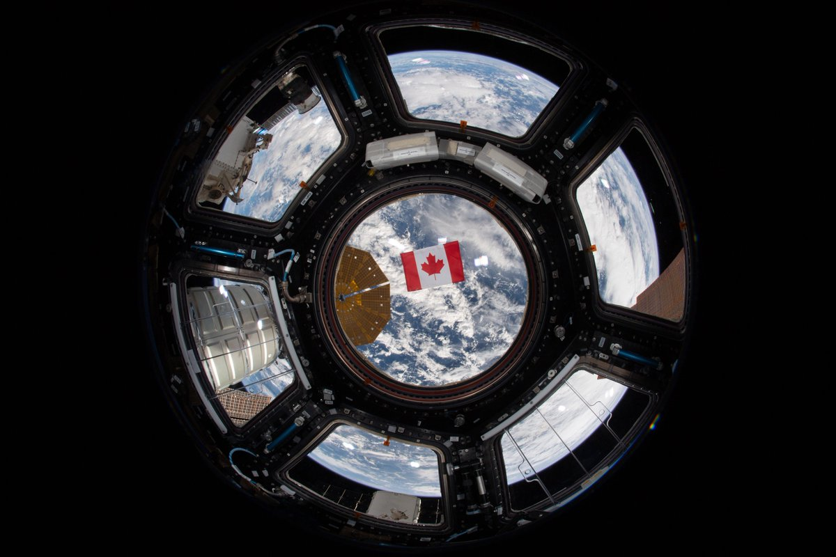 #DYK that flag experts often cite the #CanadianFlag as one of the world's most beautiful? It is appreciated for its compelling design and measured use of colour. It's even prettier in space, don't you think? 😉 #FlagDay   Photo: CSA/NASA