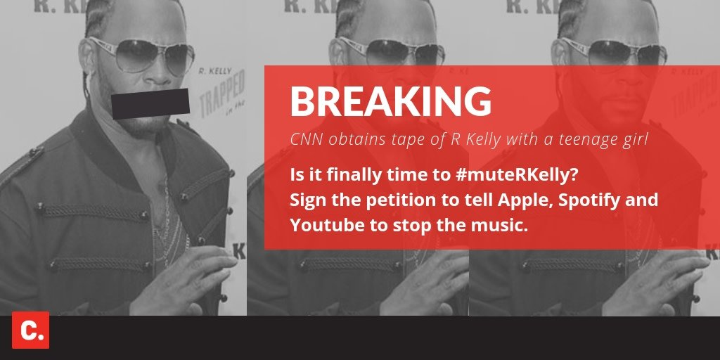 How much evidence do we need before @spotify, @applemusic and @youtube stop streaming R. Kelly's music? 167,000 Change supporters think it's time to #MuteRKelly. Sign and share to say enough is enough.