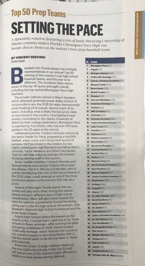 We are excited to share that our #PaceBaseball program has been ranked as the #1 PRIVATE PREP TEAM in the nation by Street & Smith's Baseball Yearbook! Congratulations to our players and coaches!  ⚾️🏆GO SPARTANS! ⚾️🏆 #SpartansBaseball #PaceAthletics #PaceSpartans #WeArePace