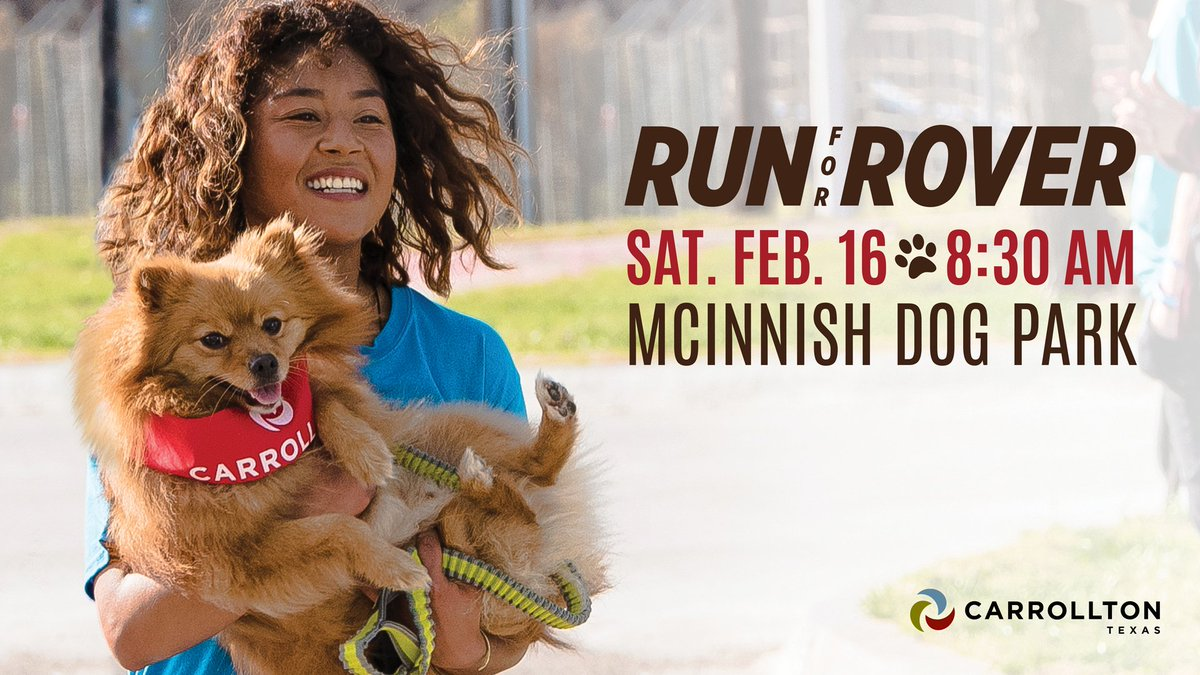 Run for Rover is tomorrow! Bring your pup out to McInnish Sports Complex for a race benefiting our furry friends at the City of Carrollton Animal Adoption Center. http://bit.ly/2DIDB46  🐕🐩🐾🏃‍♀️🏃‍♂️