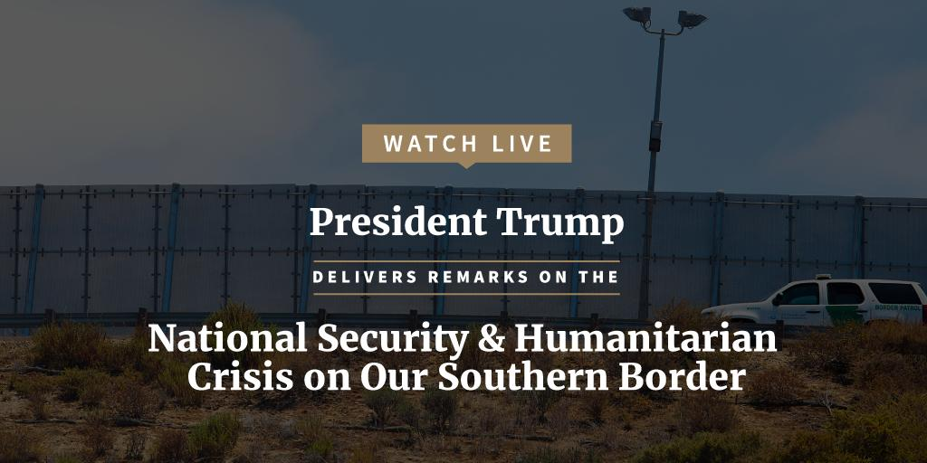 LIVE at 10 a.m. ET: President @realDonaldTrump will deliver remarks from the Rose Garden on the national security and humanitarian crisis on our southern border.  Watch here:  https://t.co/EmsdctGWtd