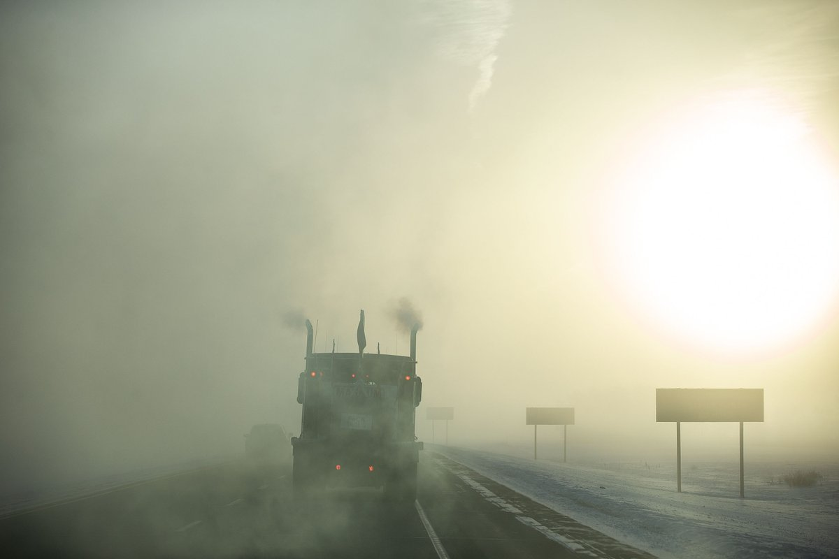 Fog blankets the highway as the #UnitedWeRoll #ConvoyToOttawa makes its way out of Regina, Saskatchewan. #StarConvoy