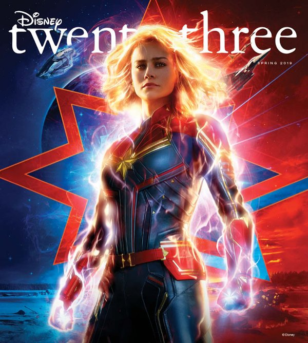"""Captain Marvel Covers Disney Twenty-Three Magazine Including a Look at """"Avengers: Endgame"""" and """"Dumbo"""": http://www.mousesteps.com/news-mainmenu-127/general-disney-news-mainmenu-132/2793-captain-marvel-covers-disney-twenty-three-magazine-including-a-look-at-avengers-endgame-and-dumbo… #disney #captainmarvel #HigherFurtherFaster"""