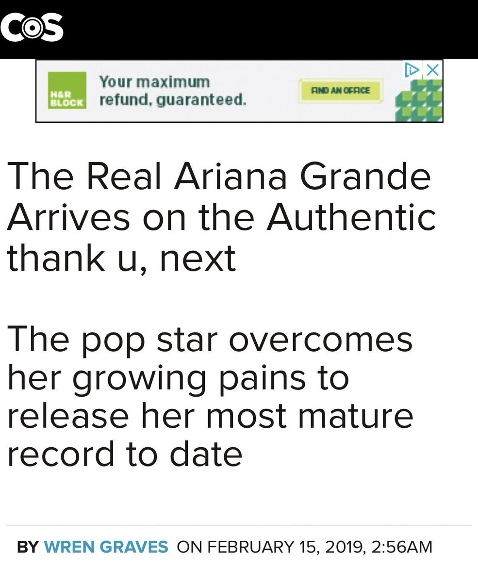 """.@consequence gives #ThankUNext a 91/100 score:   """"thank u, next is a personal statement from a generational talent who is still only 25 years old. And maybe that's the most exciting part: Ariana Grande is just now entering her prime."""" <br>http://pic.twitter.com/qGGVKBalFP"""