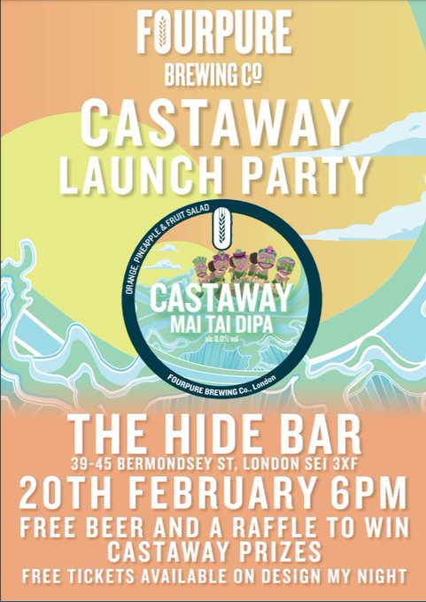 Image for Can't make it to our Castaway Launch tonight?? No problem. We believe in second chances, so get down to @thehidebar and get around our brand new Castaway Mai Tai DIPA. There will also be beer infused Mai Tai's  and a talk about the creation of Castaway. S