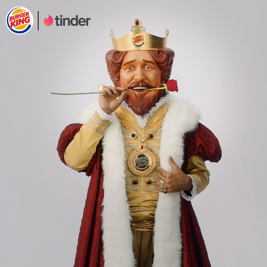 Burger King is on Tinder for Singles Awareness Day with a deal for matching with The King