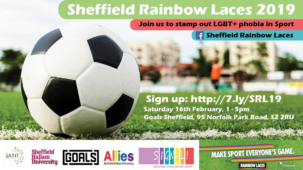 .@SAYiTSheffield, @sheffhallamuni and LGBT+ allies will be proudly showing support for kicking homophobia out of sport – with Sheffield's biggest ever Rainbow Laces football tournament this Saturday: https://sayit.org.uk/sheffield-charitys-goal-for-2019-calling-time-on-homophobia-in-sport/…