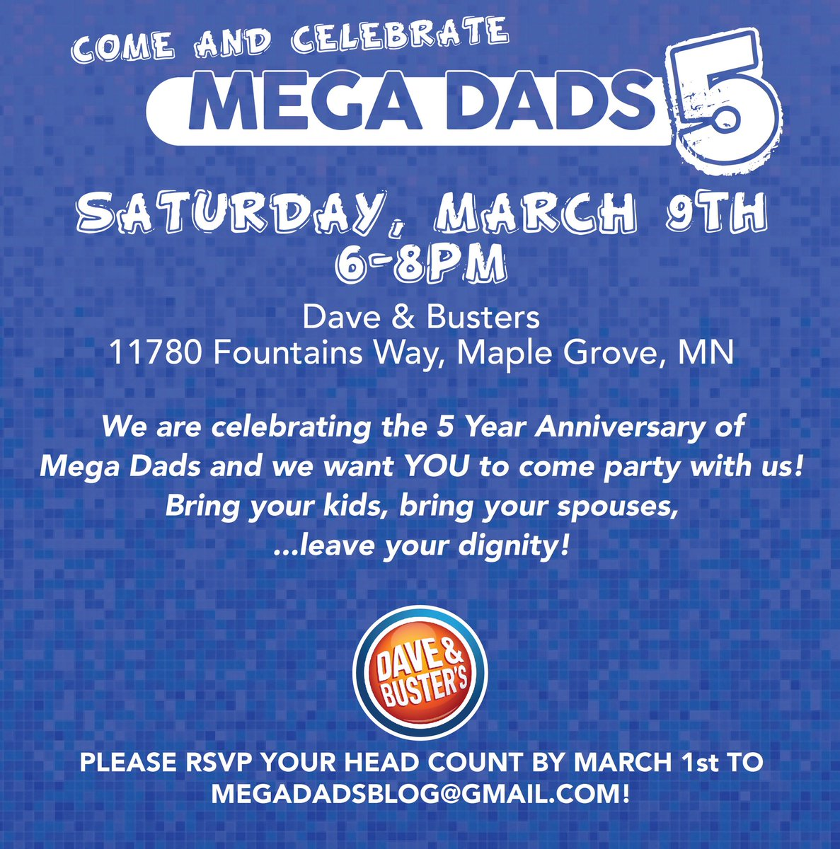 Announcing Mega Dads 5!  Come hang out and play games with John & Adam to help celebrate our 5th Anniversary.   Bring the kids! Have a cocktail! Kick John's ass at Skee Ball! We hope you can make it! #MD5   You can RSVP right here 👇 https://www.eventbrite.com/e/mega-dads-5-tickets-56645111052?ref=eios …