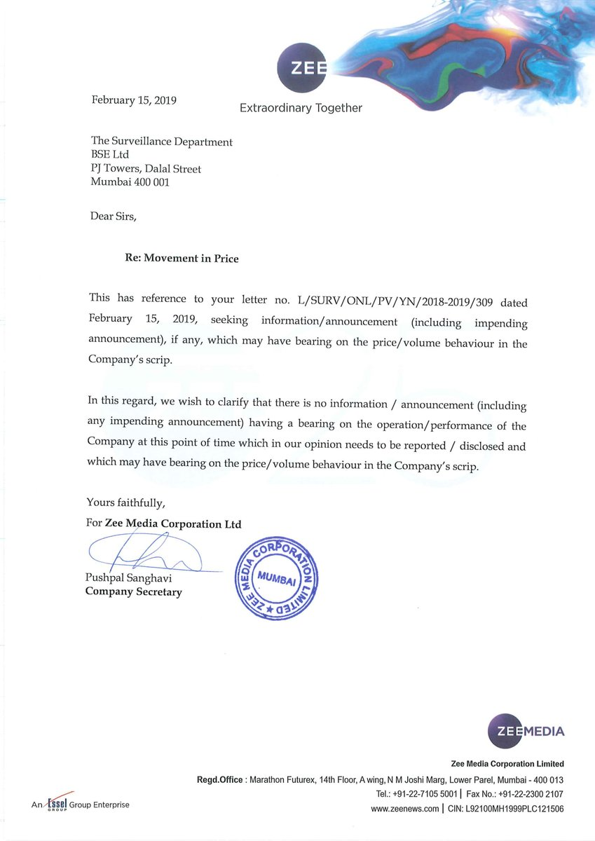 #JustIn   Zee Ent says no information to disclose having a bearing on the performance of co at this point of time
